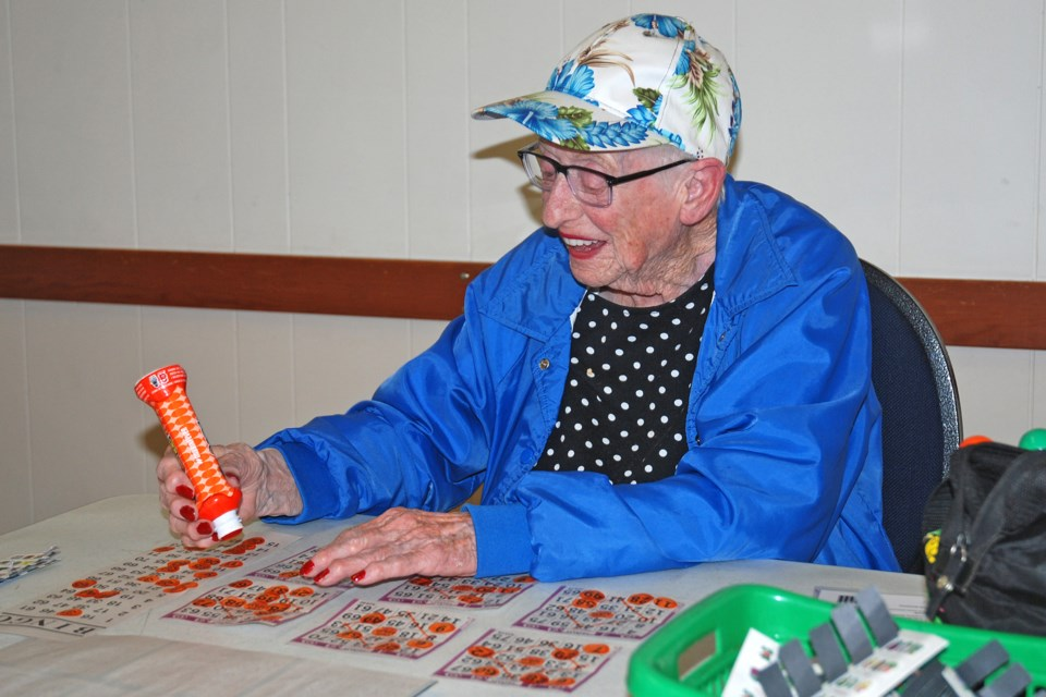 Margaret Goodwin was among roughly two-dozen people who enthusiastically returned last Tuesday to try their luck at the Sundre Elks Lodge No. 338 bingo, which had been on hold since March 10 because of the COVID-19 pandemic. 