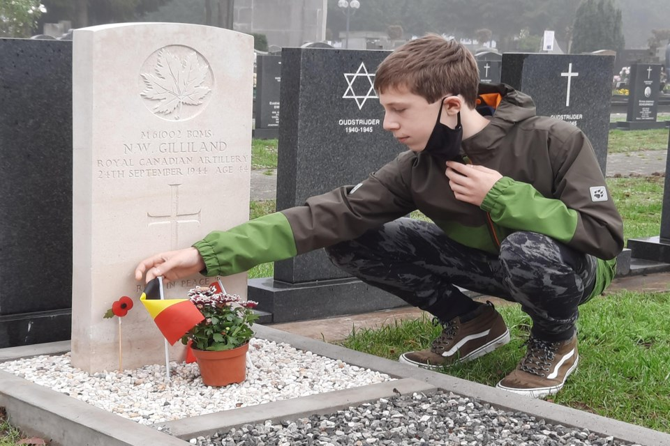 Wout Van Kerckhoven, a 15-year-old Belgian teen paused on Nov. 11, 2020 to remember the sacrifice of Battery Quartermaster Sgt. Norman Walter Gilliland, a former citizen of Bowden who died in 1944 while defending Belgium during the Second World War. Submitted photo