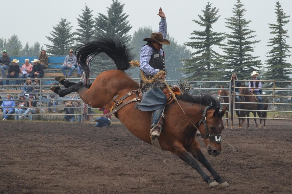 A saddle bronc rider plys his trade during the 2021 edition of Bowden Daze. Doug Collie/MVP Staff