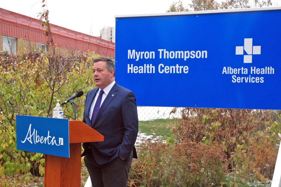 Premier Jason Kenney praised the late Myron Thompson's tireless dedication and passion to public service over many decades in education and politics during a ceremony on Friday, Oct. 16.