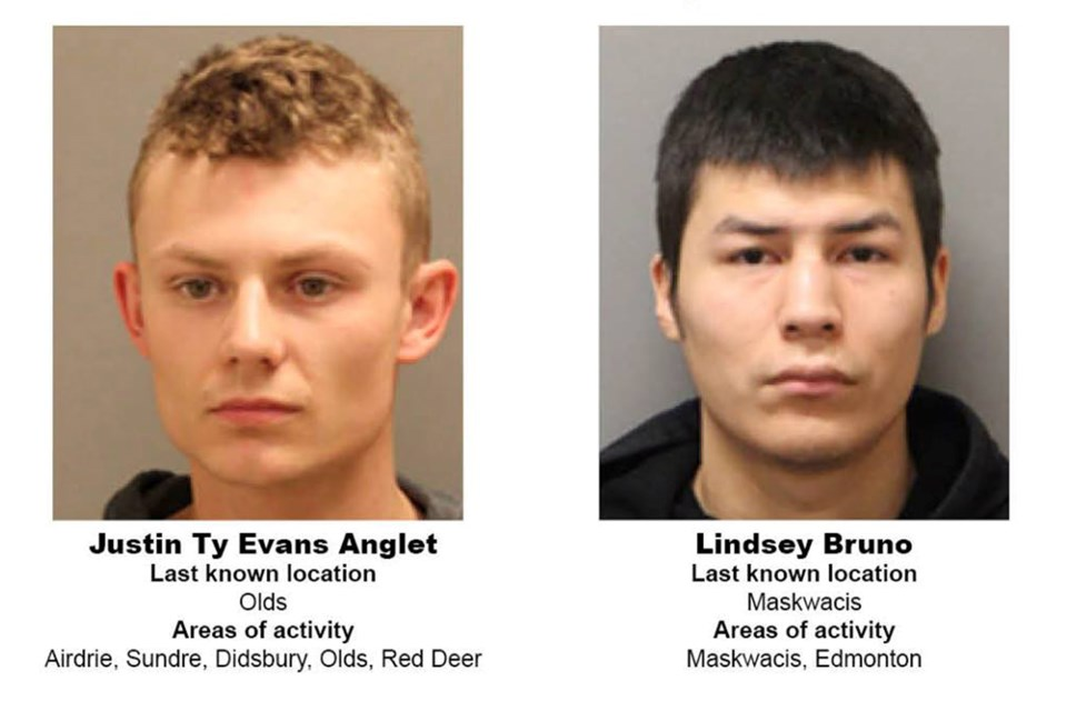Justin Ty Evans Anglet, left, and Lindsey Bruno, right, are being sought by RCMP. Photo courtesy of Alberta RCMP