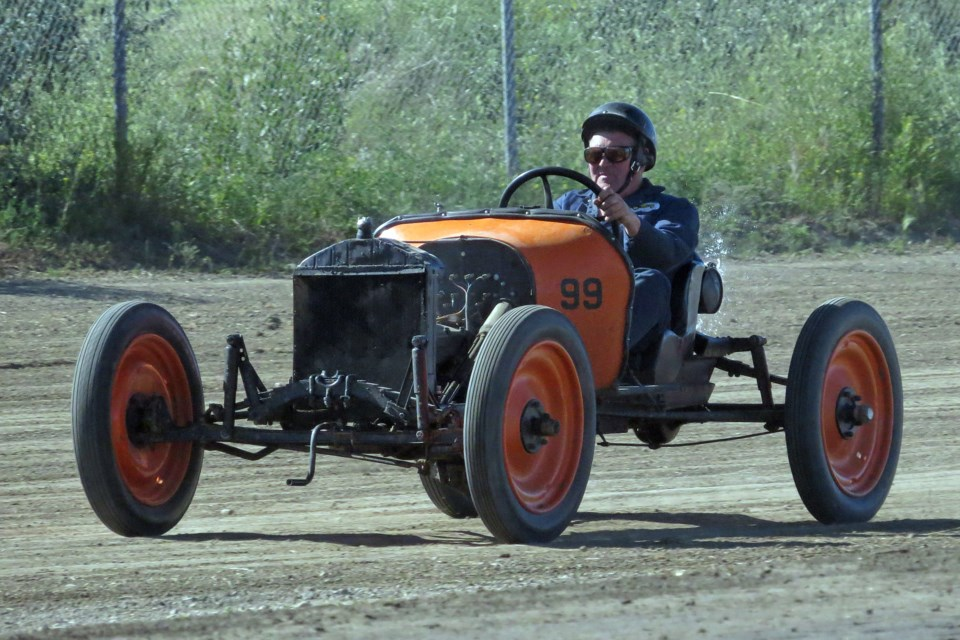 Paddy Munro races his vintage Model T classic at the Dinosaur Downs Speedway dirt track in Drumheller. Photo courtesy of Carol Douglas