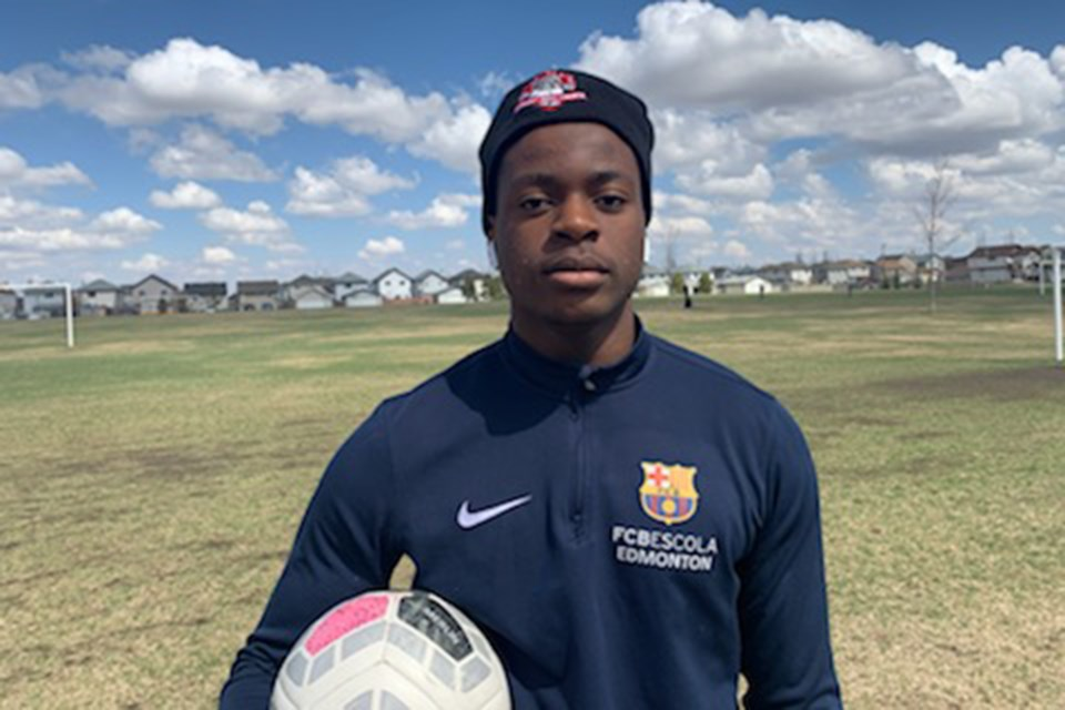 Before coming to Olds College, centre-back Emmanuel Mukolo helped his high school team win a division 2 championship in Edmonton. Photo courtesy of Olds College