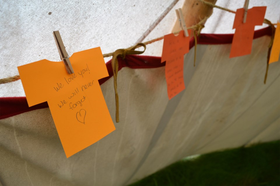 A look at one of the supportive notes left inside the teepee at the Olds College wetlands. Doug Collie/MVP Staff