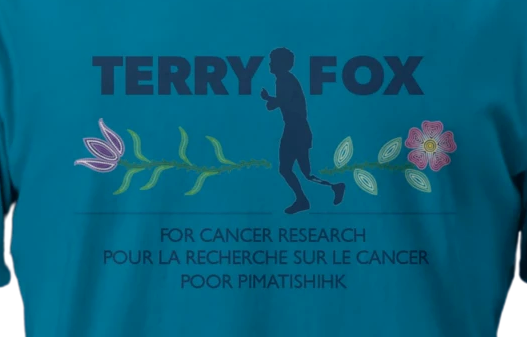 Upon discovering a connection to Métis lineage after deciding to research their heritage, the Terry Fox family decided to honour that history by designing this T-shirt for the 2021 Terry Fox Run's Marathon of Hope.  Imagine courtesy of www.terryfox.org
