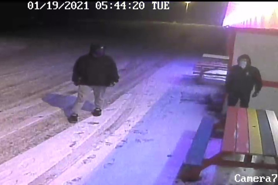 Two suspects believed to have perpetrated a break-in and theft at the Torrington Hotel were captured on camera. Photo courtesy of Olds RCMP