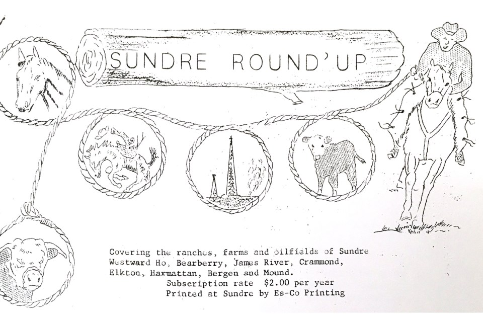 The Sundre Round Up's original banner, dating back to the Tuesday, Feb. 4 inaugural edition in 1960.