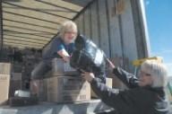 Workers sort donations