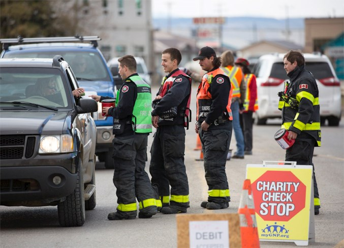In all, 16 volunteers, including four members of the Sundre Fire Department, an off-duty RCMP officer as well as the peace officer, two town councillors, and some GNP board members spent Friday, Oct. 18 soliciting donations from passing motorists on Main Avenue.