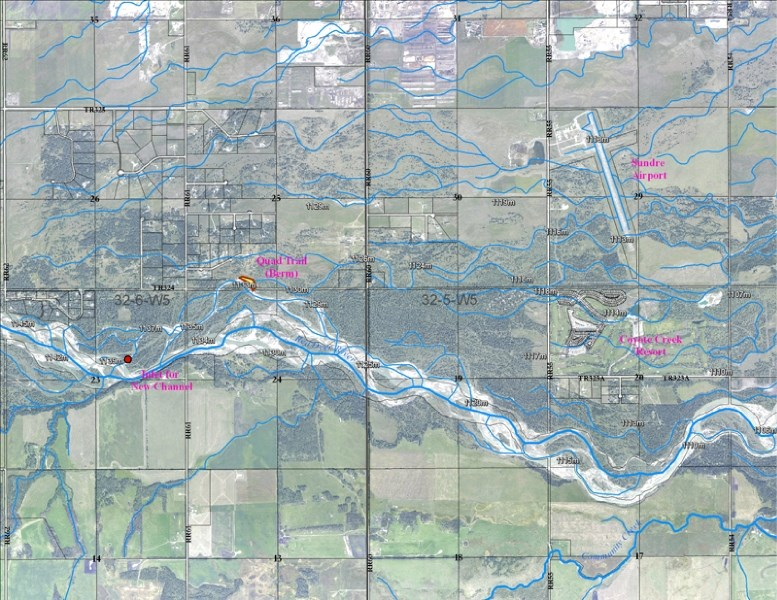 Map showing the area where the Red Deer River changed course upstream of Sundre.