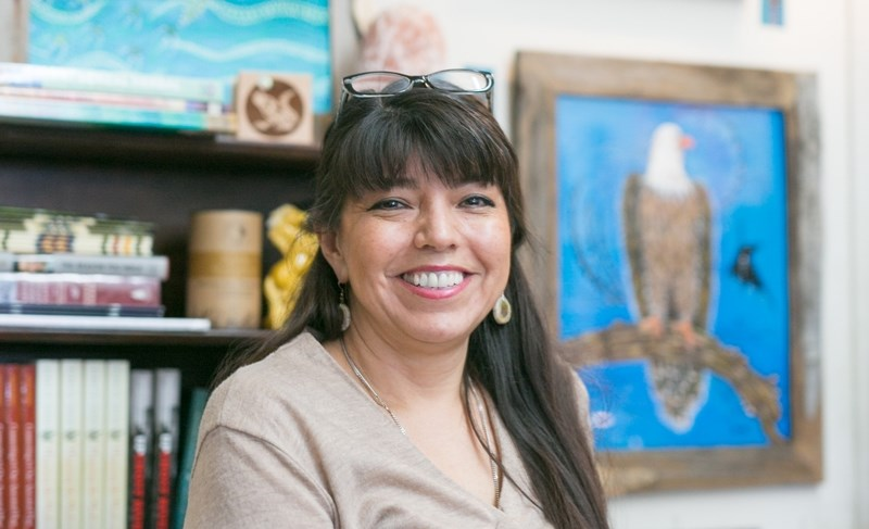 Delree Dumont with some of her artwork at her store Delree's Native Art Gallery in Didsbury on Feb. 21.