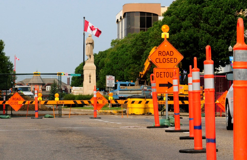 Part of Ross St. in Red Deer will be closed both Saturday and Sunday from 49th Avenue to Gaetz Avenue as construction on Veterans' Park continues.