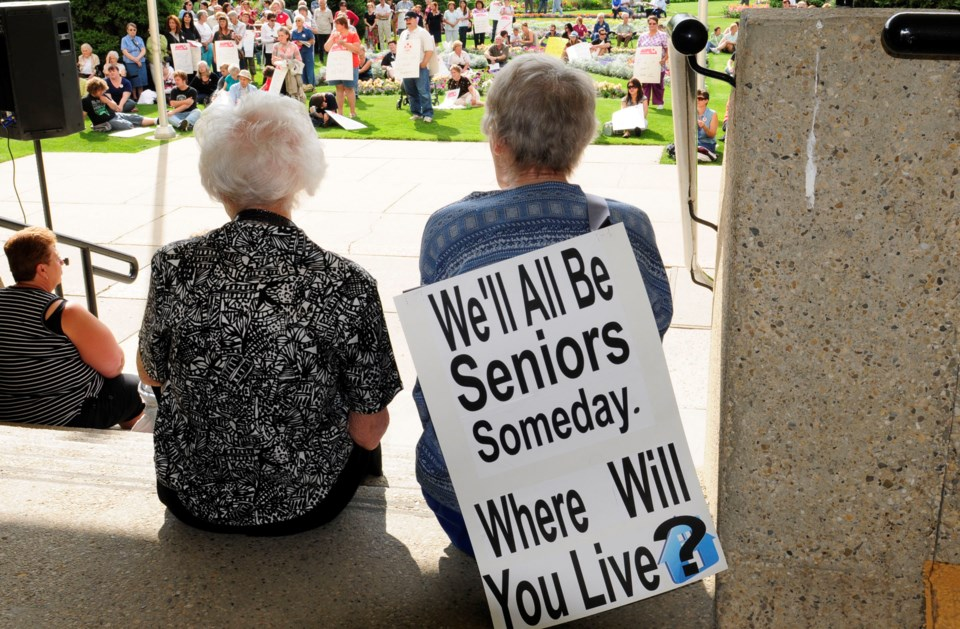 About 300 people gathered at City Hall Park Tuesday to try and change the provincial government's plan to close two City nursing homes.