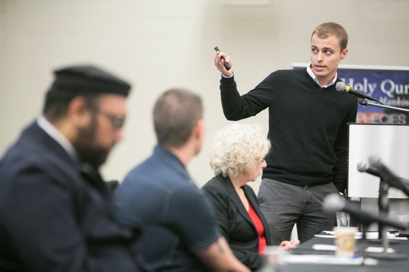 Brayden Whitlock, representing atheism, gives a presentation during the World Religions Conference at Olds College on Nov. 25.