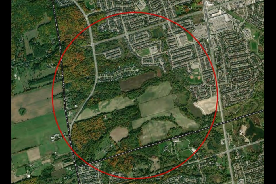The undeveloped area of southwest Newmarket. Note: not everything contained within the circle is covered by the discussion on Tuesday. Supplied photo/Town of Newmarket