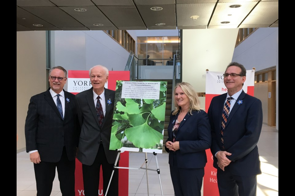 Paul McDonald, Dean, Faculty of Health, York University (from left); Dr. Allan Carswell; Rhonda Lenton, York University president; and Loren Freid, CEO, AS York. Supplied photo/Lisa Day for AS York