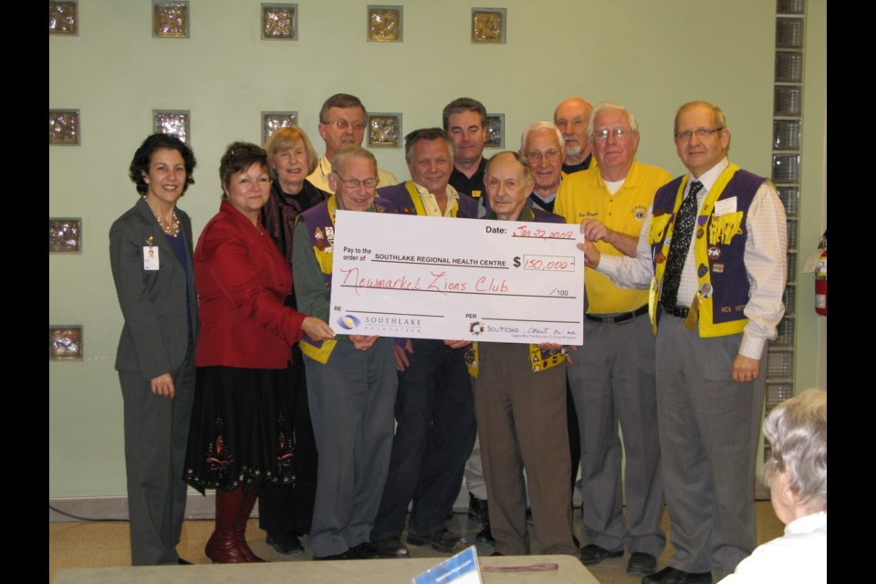 The Newmarket Lions Club is a longtime supporter of Southlake Regional Health Centre.