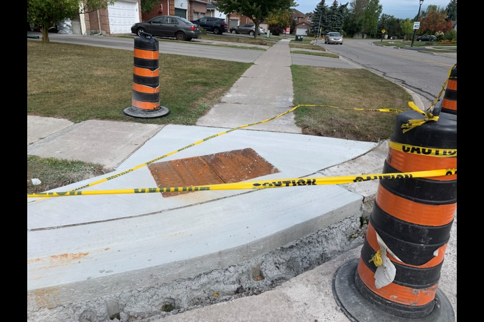 The Town of Newmarket is required to install tactile plates in sidewalks under the Accessibility for Ontarians with Disabilities Act. Debora Kelly/NewmarketToday
