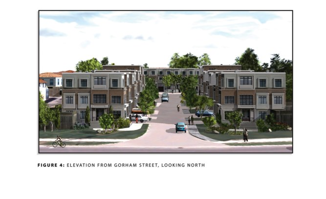 This artist's rendering shows a housing development of 22 three-storey townhouses proposed for 849 Gorham St. in Newmarket.