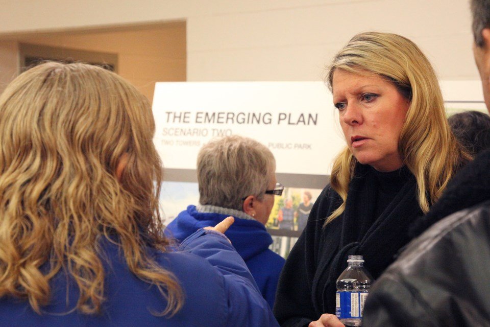 Councillor Jane Twinney listens to the concerns of a resident the information session hosted by Briarwood Development Group Tuesday.  Greg King for NewmarketToday