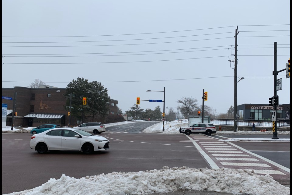 The intersection of Davis Drive and Patterson Street, the location of the proposed condominium development by Briarwood. Debora Kelly/NewmarketToday