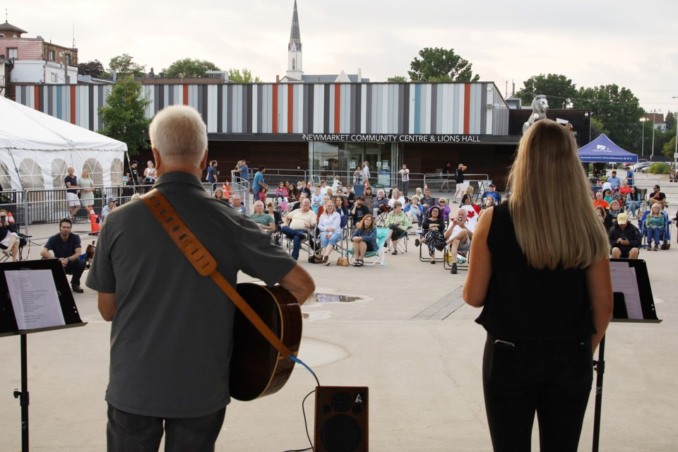 More than 100 Newmarket residents attended the outdoor concert at Riverwalk Commons Tuesday night, with even the weather cooperating. Greg King for NewmarketToday