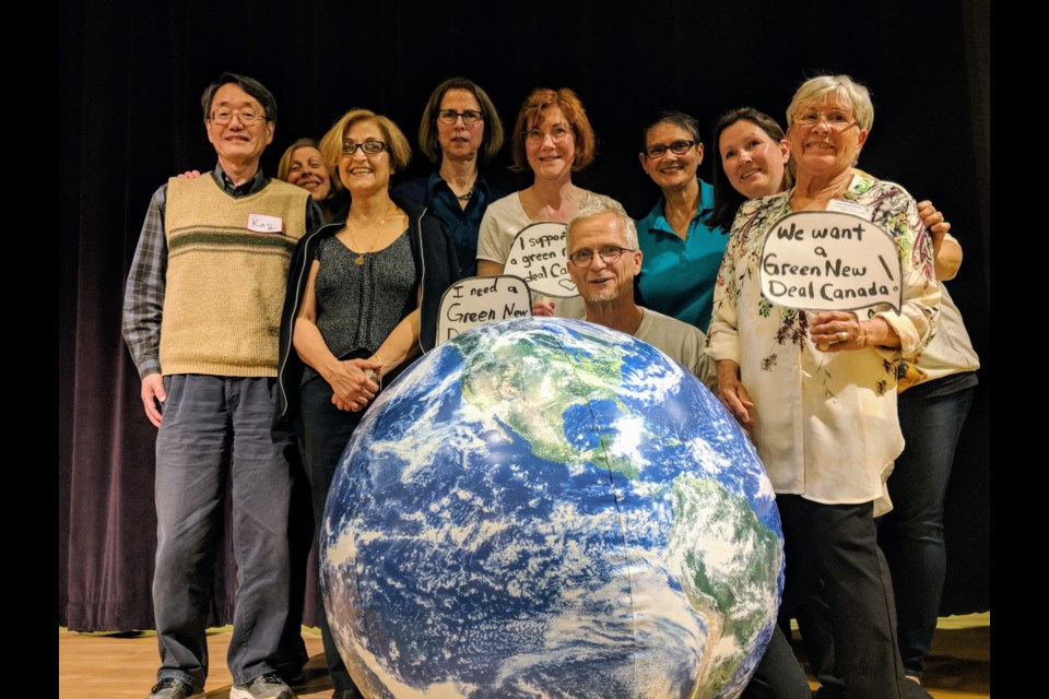 The Pact for a Green New Deal organizers and volunteers celebrate a successful event that offered citizens the chance to contribute ideas on fighting climate change. It was hosted by the newly formed Drawdown Newmarket-Aurora and held May 29 at Old Town Hall. Kim Champion/NewmarketToday