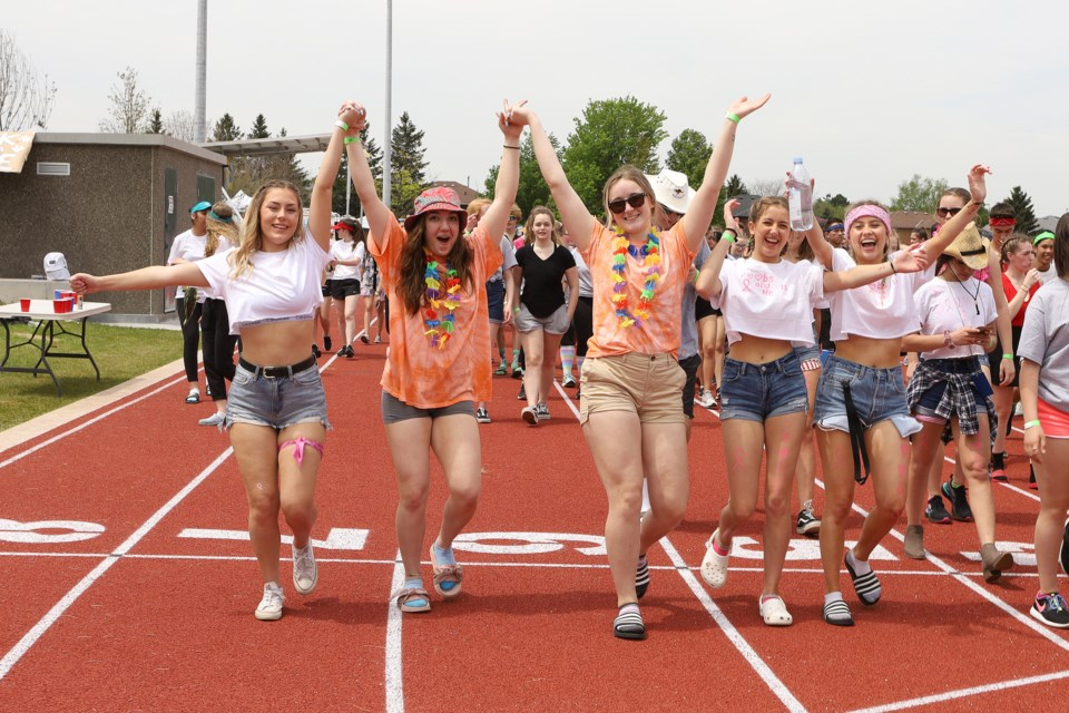 Enthusiasm was high at the Dr. J.M. Denison Secondary School Relay for Life May 30.  Greg King for NewmarketToday