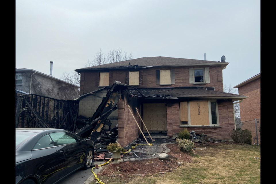The house on Glover Lane, in the Leslie Valley neighbourhood, was extensively damaged in a fire Saturday, April 3.