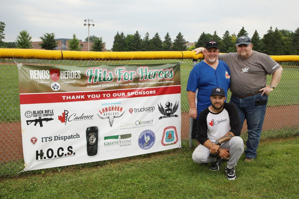 Tournament organizers Mike Humphries of Renos for Heroes, Chris Carter of Military Minds, and Chris Dupee of Cadence Health & Wellness (front) at Ray Twinney Recreation Centre July 13.  Greg King for NewmarketToday