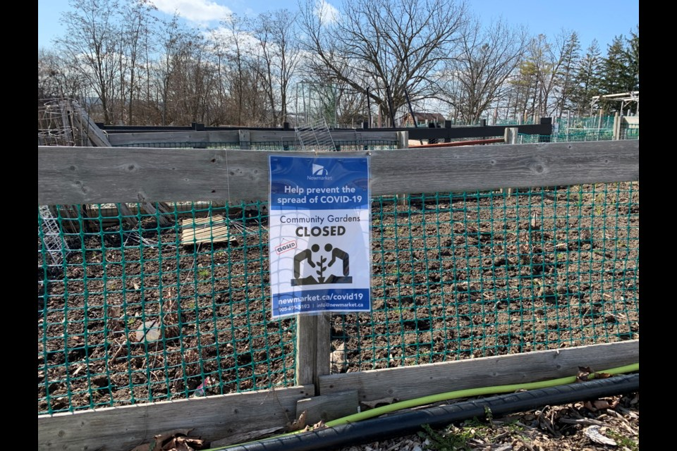 The Newmarket Community Gardens on Mulock Drive closed, along with parks and other recreational spaces, when the province issued its emergency orders last month. Debora Kelly/NewmarketToday