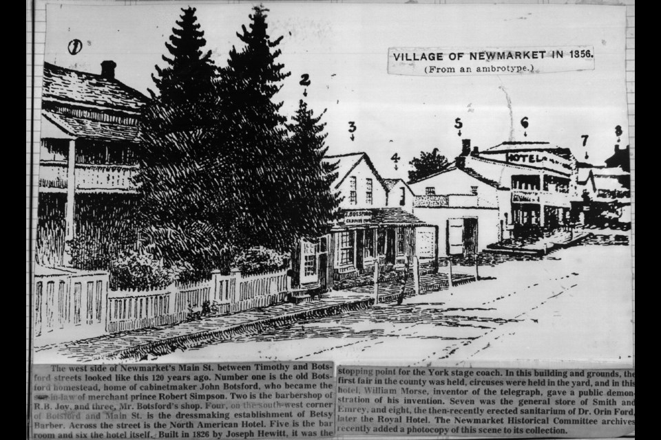 The west side of Newmarket Main Street between Timothy and Botsford, including the home of cabinetmaker John Botsford (no. 1), who became the son-in-law of merchant prince Robert Simpson, in 1856.