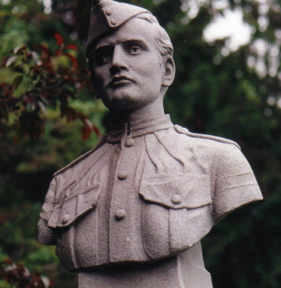 The bust of Pte. Walsley Haines stands on a granite monument, made locally.