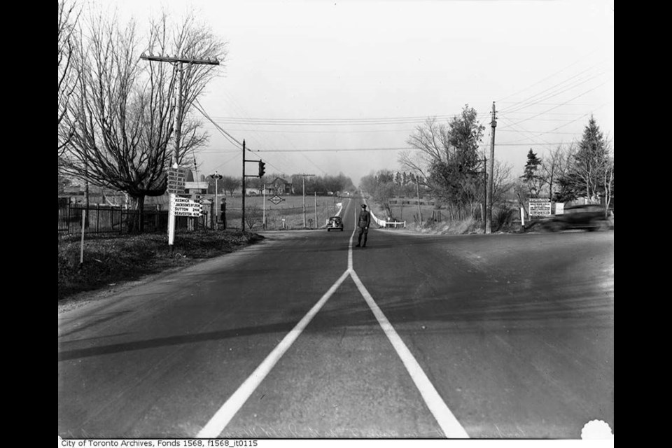 Newmarket's farmlands along Yonge Street, looking north, in the 1940s.