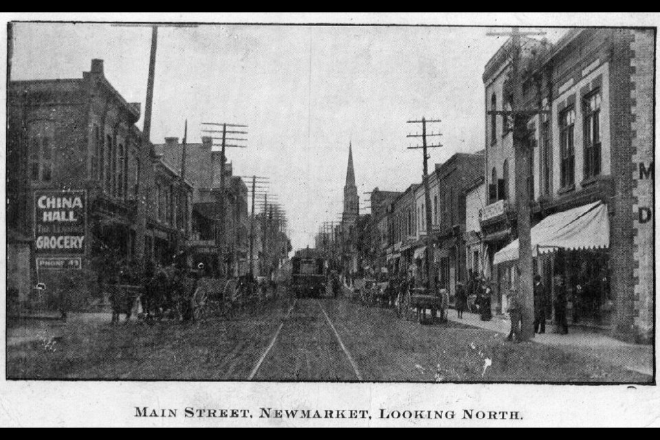 The radial rail tracks went up the middle of Main Street in 1906, while the horse and buggy still ruled.