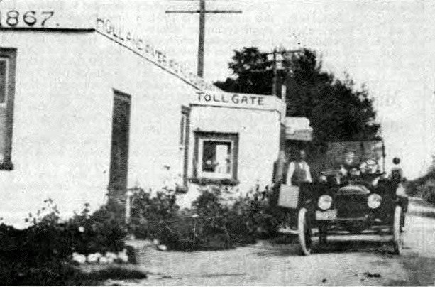 The Holland River Road toll gate in the 1800s.