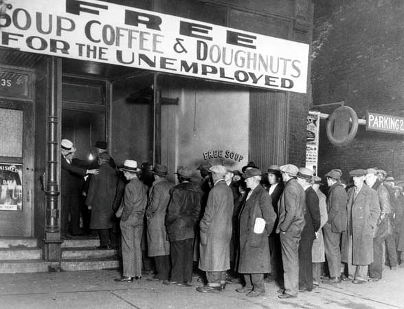 Lining up for food during the Dirty 30s, when unemployment was a national problem.