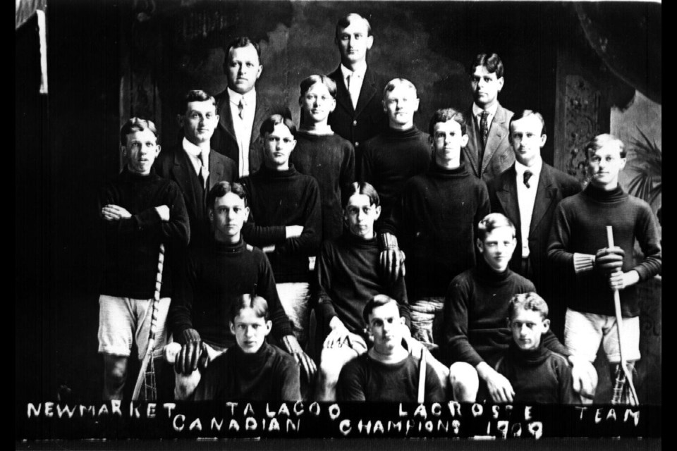 The Newmarket Talagoo Lacrosse Team after winning the Canadian Championships in 1909.