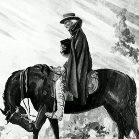 An itinerant Methodist minister riding his circuit in the early 1800s.