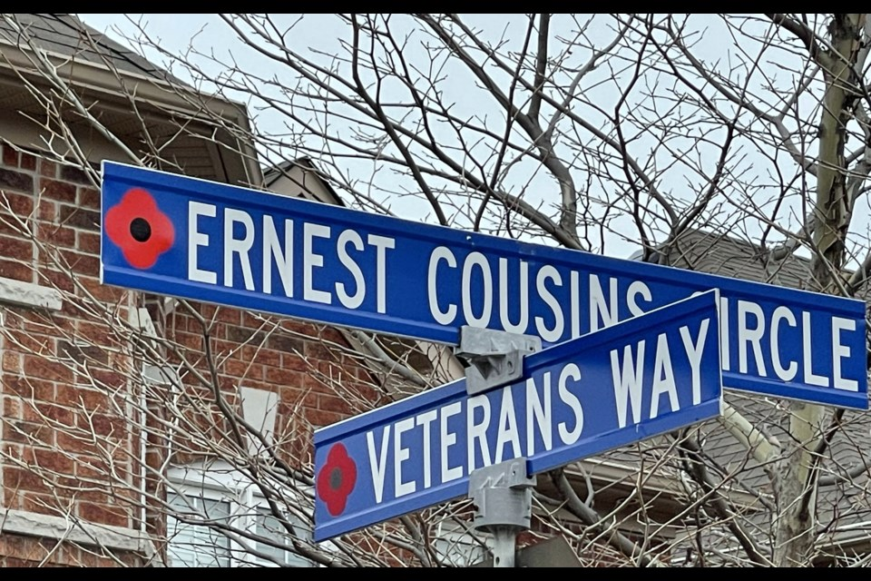 Street names in Ward 1 honouring Newmarket soldiers who gave their lives in defence of our country. Ernest Cousins served in the First World War.