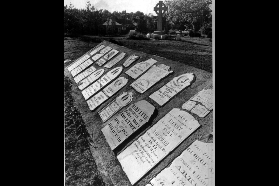 The headstones that were able to be 'rescued' were placed in a large monument at the Pioneer Burying Ground on Eagle Street.