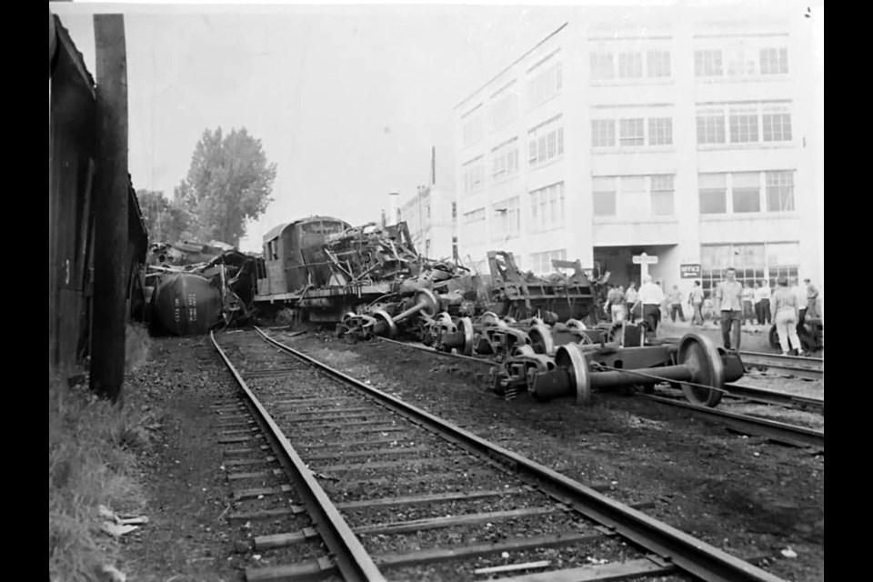 The train derailment north of Davis Drive in the late 1950s.