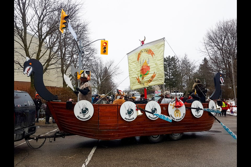 The Viking Shrine Club is the winner of the Mayor's Trophy for the best overall float in the 2018 Santa Claus parade. Supplied photo/Town of Newmarket