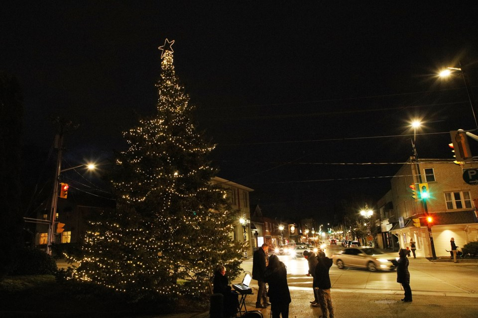Newmarket's Christmas tree at the foot of Main Street is officially lit following a video launch on Facebook Friday night. COVID-19 safety restrictions prevented the usual large-scale live event. Greg King for NewmarketToday
