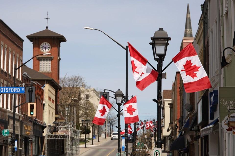 2020 08 09 flags on Newmarket Main Street GK