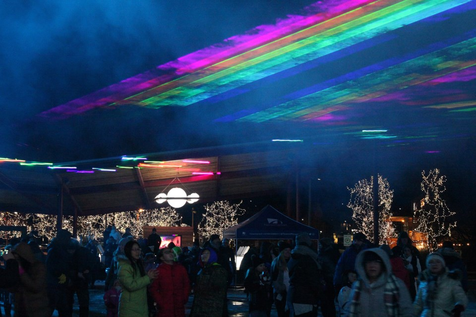 The sky was filled with colours as 2019 kicked off with a laser light show at Mayor John Taylor's first new year's levee Jan. 11.  File photo/Greg King for NewmarketToday