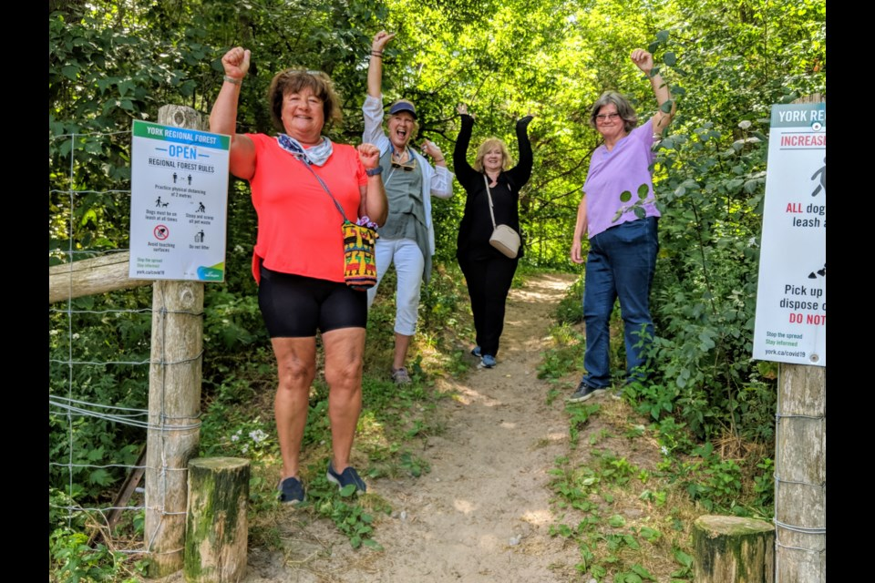Nancy Fish (from left), Susan Dowell, Shelagh Fraser, and Donna Norman have walked 13 trails since May 7, 2020, in the York Regional Forest. It's always a celebration when they make their way out of the forest without getting lost. Kim Champion/NewmarketToday