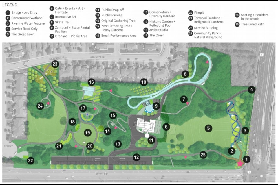 A map of the proposed Mulock Park project.