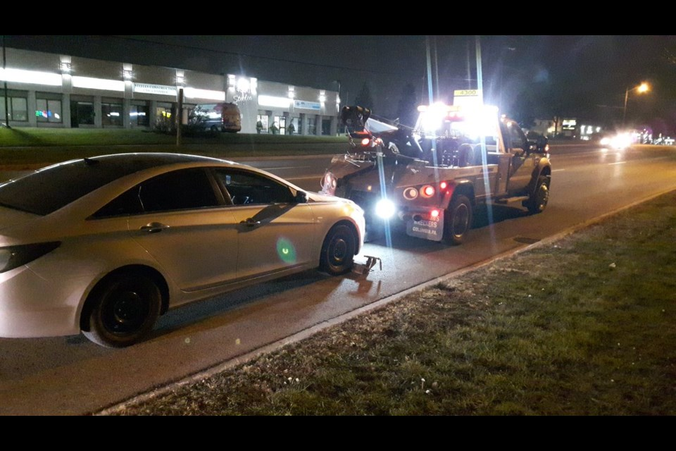 York Regional Police impound a vehicle whose driver was arrested for impaired over 80 Nov. 29. Twitter photo/York Regional Police