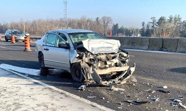 A man is charged after a vehicle collided with an OPP vehicle, injuring the officer inside, on Highway 404 Sunday, Nov. 24. Supplied photo/OPP